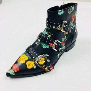 Nine West Floral Seraphim Leather Ankle Booties